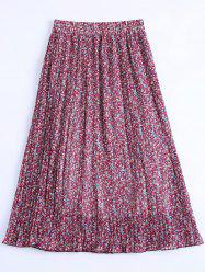 Stylish Chiffon Floral Print Pleated Skirt For Women -