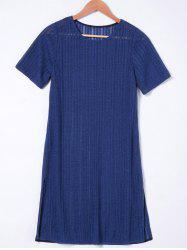 Short Sleeves Casual Shift Dress - NAVY BLUE XL