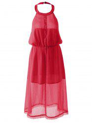 Slimming Halterneck Backless Chiffon Dress - RED