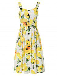 Square Neck Sleeveless Lemon Print Midi Dress For Women