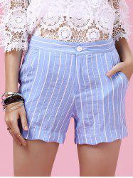 Sweet Wavy Hem Design Striped Shorts For Women -