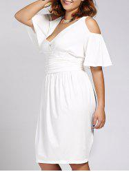 Women's Stylish Plus Size V Neck Short Sleeve Dress -