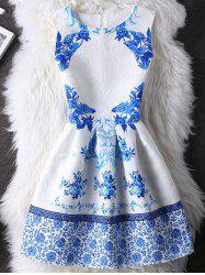 Elegant Guipure Folral Print Mini Dress - WHITE XL