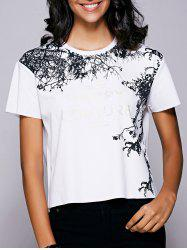 Casual Short Sleeves Letter Pattern T-Shirt For Women