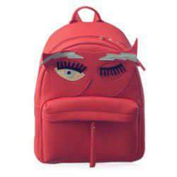 Fashionable Zippers and Hit Colour Design Backpack For Women - RED