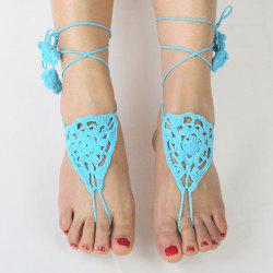Pair of Vintage Floral Triangle Woven Girl Sandal Anklets - LAKE BLUE
