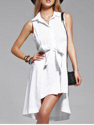 Simple Pure Color Flounce Sleeveless Shirt Dress
