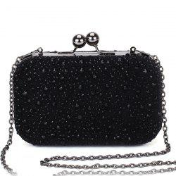 Trendy Kiss Lock and Rhinestone Design Evening Bag For Women -