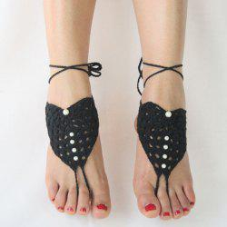 Pair of Vintage Faux Pearl Woven Girl Sandal Anklets -