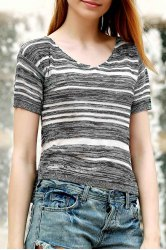 Stylish Scoop Neck Short Sleeve Striped Jumper For Women