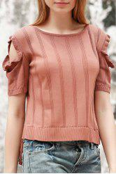Stylish Jewel Neck Short Sleeve Cold Shoulder Jumper For Women