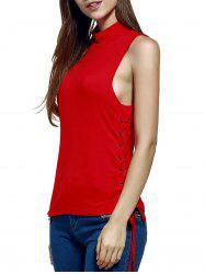 Women's Trendy Stand Neck Pure Color Lace-Up Tank Top -