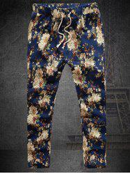 Straight Leg Linen Drawstring Plus Size Floral Nine Minutes of Pants - COLORMIX
