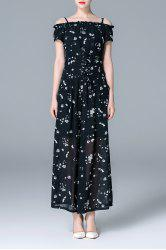 Off The Shoulder Printed T-Shirt and Wide Leg Pants Suit -