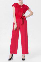 Red Drawstring Wide Leg Jumpsuit -