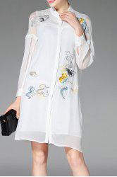 Stand Neck Long Sleeve Embroidery Shirt Dress -