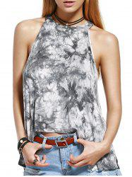 Chic Women's Round Neck Tie Dye Print Tank Top