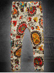 Floral Pattern Straight Leg Lace-Up Plus Size Printed Nine Minutes of Pants For Men -