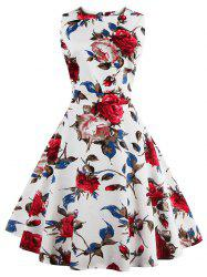 Floral Tea Length Vintage Dress - WHITE