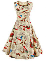 Sweetheart Neck Flower and Bird Retro Dress - APRICOT