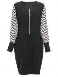Fashionable Long Sleeve Zigzag Women's Plus Size Dress