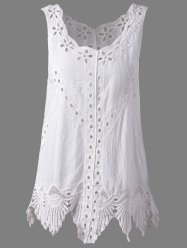 Bohemian Scoop Neck Crochet Sleeveless Solid Color Blouse For Women - WHITE