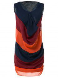 Casual V-Neck Sleeveless Spliced Color Block Women's Dress - BLUE AND RED