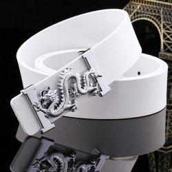 Stylish Personality Vivid Dragon Shape Embellished Wide Belt For Men - WHITE