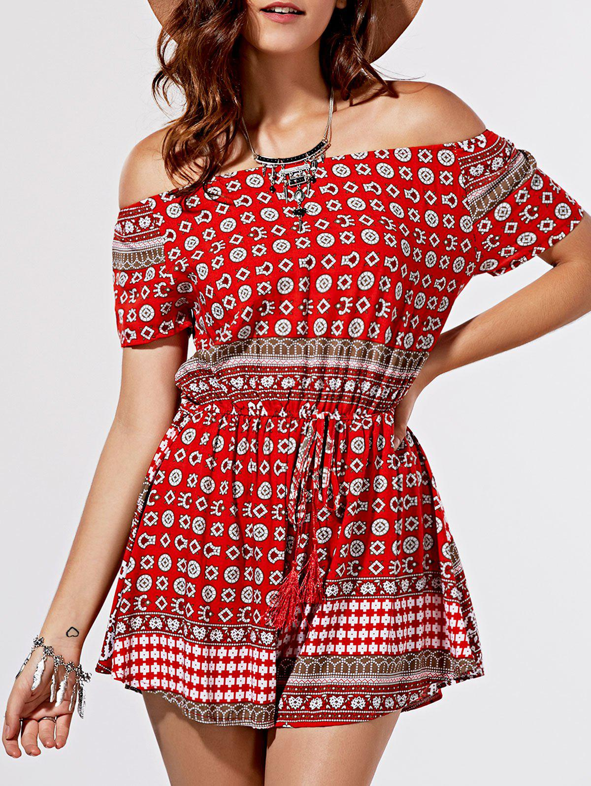New Chic Totem Print Off The Shoulder Short Sleeve Romper For Women