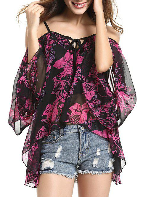 Fashion Spaghetti Strap Off Shoulder Bell Sleeve Floral Printed Blouse