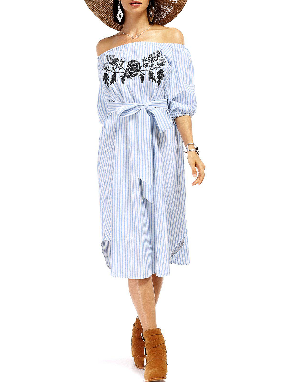 Online Attractive Off The Shoulder Striped Floral Embroidered Midi Dress For Women
