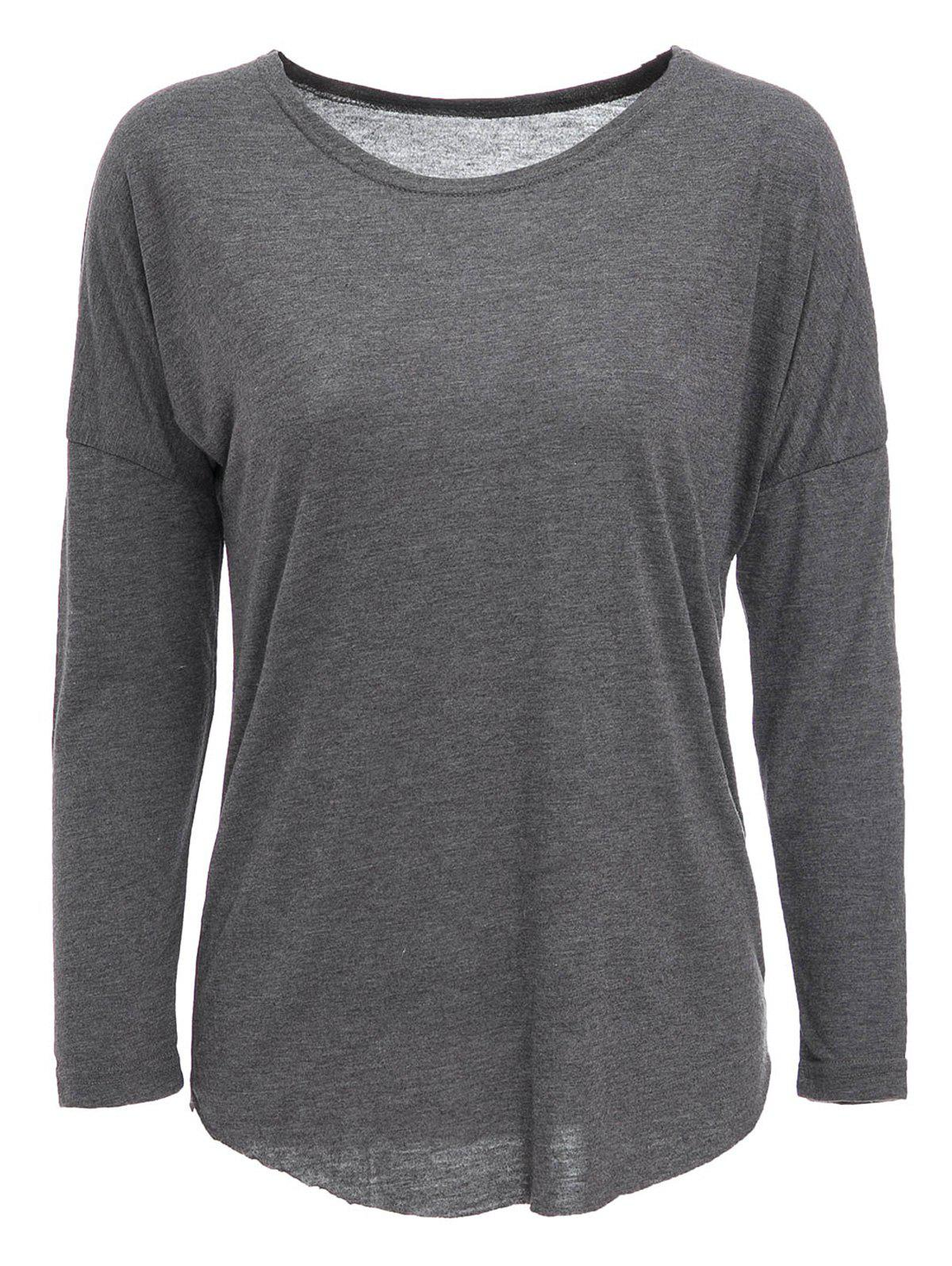 Chic Casual Gray Long Sleeve Cotton Blend Pullover T-Shirt For Women