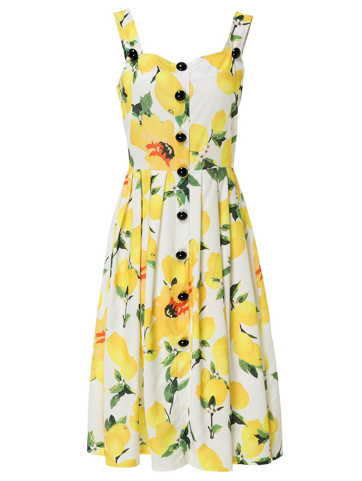 2018 Square Neck Sleeveless Lemon Print Midi Dress For