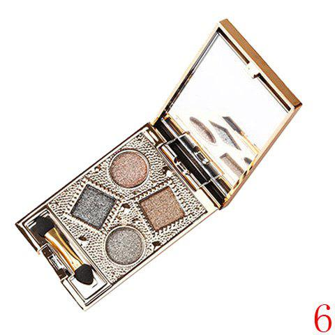 Store Stylish 4 Colours Nude Makeup Sparkly Diamond Eye Shadow Palette with Mirror and Brush
