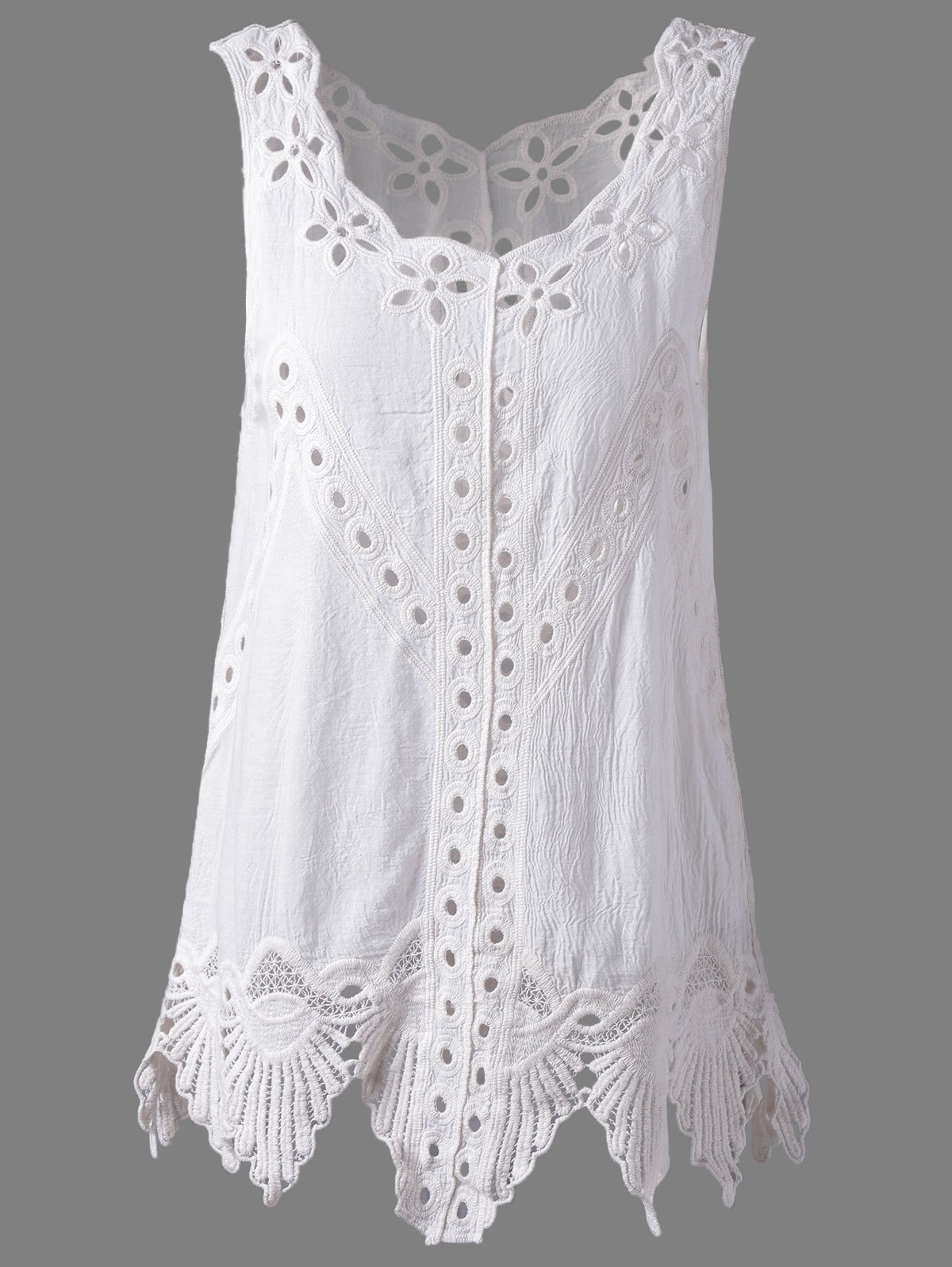 Sale Bohemian Scoop Neck Crochet Sleeveless Solid Color Blouse For Women