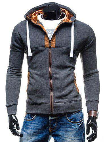 Hooded Drawstring Long Sleeve Selvedge Embellished Mens HoodieMEN<br><br>Size: L; Color: DEEP GRAY; Material: Cotton,Polyester; Shirt Length: Regular; Sleeve Length: Full; Style: Fashion; Weight: 0.380kg; Package Contents: 1 x Hoodie;
