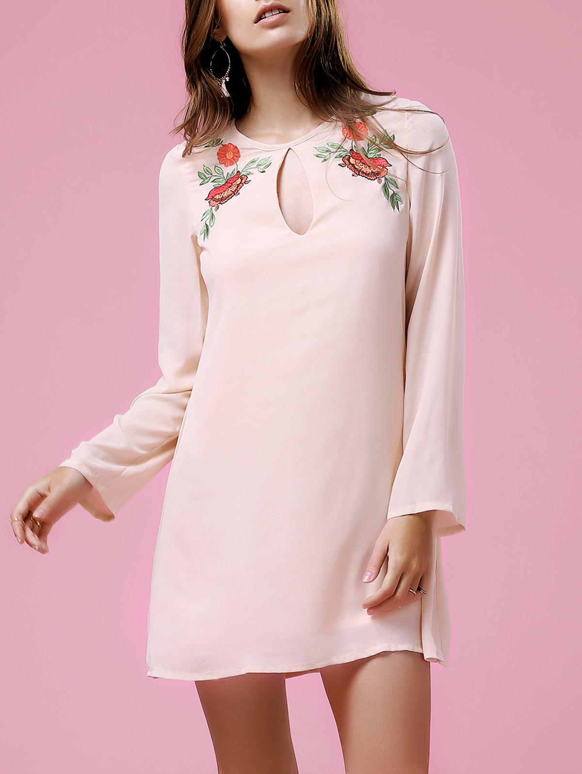 Outfits Long Sleeve Floral Embroidery Casual Dress