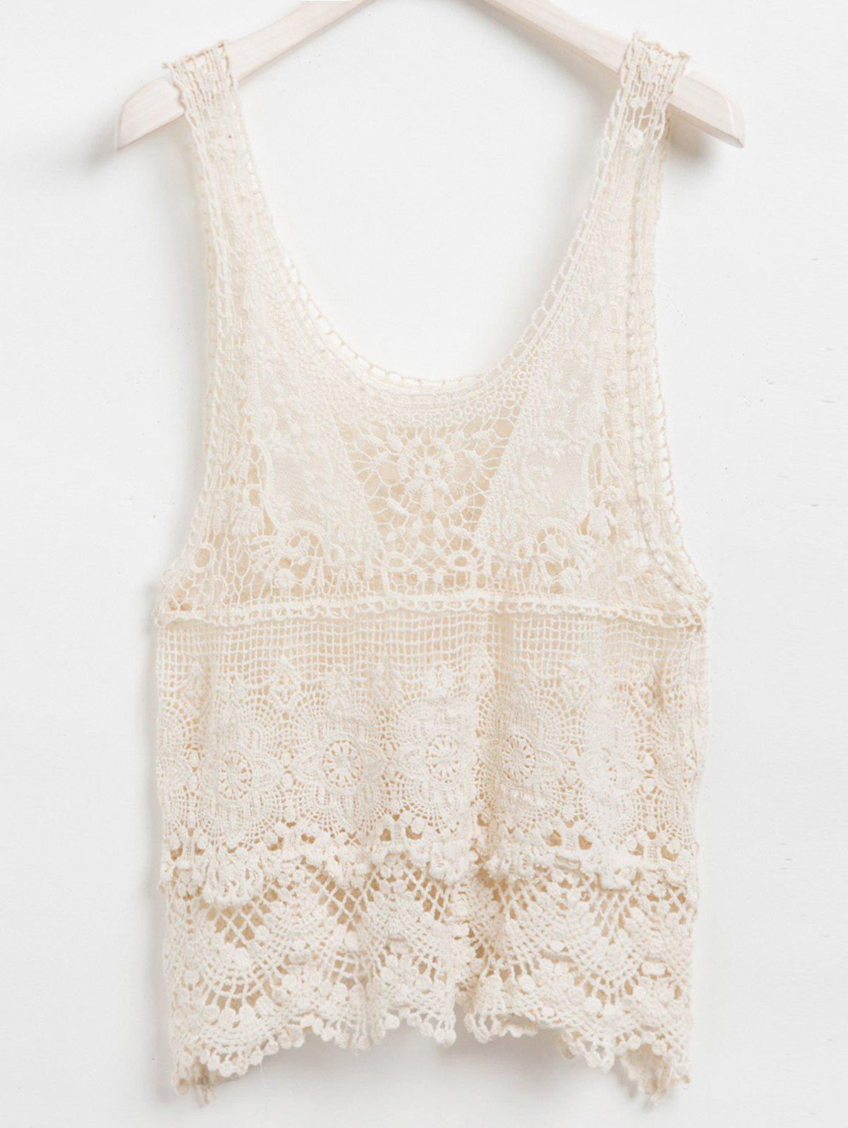 Best Solid Color Sleeveless Scoop Neck Hollow Out Design Women's Lace Tank Top