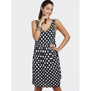 Simple Scoop Neck Loose-Fitting Polka Dot Dress For Women -