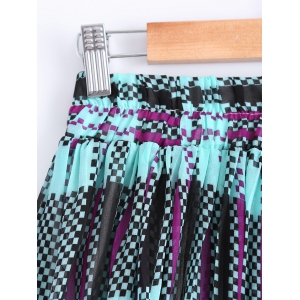 Fashionable Color Block Print Pleated Skirt For Women -