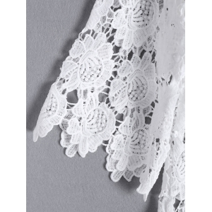 Stylish Openwork Floral Pattern 3/4 Sleeve Round Neck Blouse For Women -