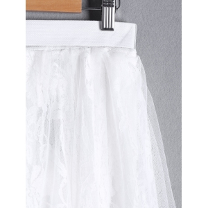 High Waist Lace Tulle Skirt -
