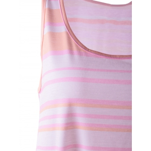 Sleeveless Stripe Maxi Casual Dress - LIGHT PINK L
