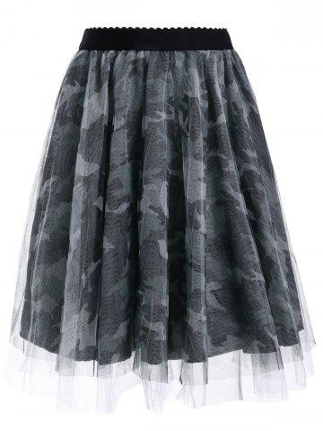 Store Stylish Voile Camouflage Print Midi Skirt For Women