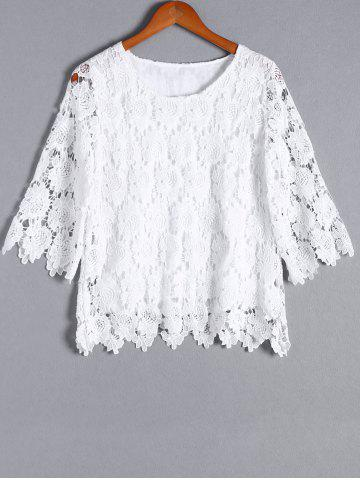 Online Stylish Openwork Floral Pattern 3/4 Sleeve Round Neck Blouse For Women