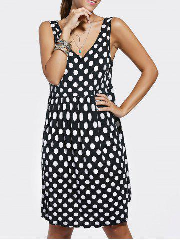 Best Simple Scoop Neck Loose-Fitting Polka Dot Dress For Women