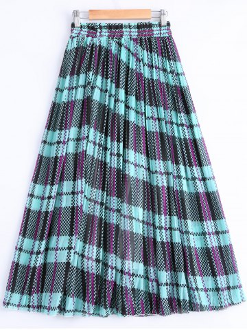 Outfits Fashionable Color Block Print Pleated Skirt For Women