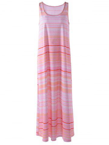 Cheap Sleeveless Stripe Maxi Casual Dress LIGHT PINK L
