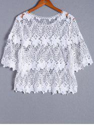 Casual Bell Sleeve Openwork Round Neck Blouse For Women -