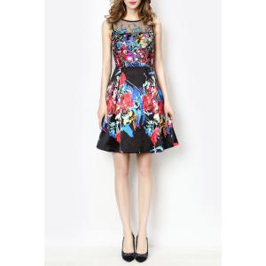 Sleeveless A Line Floral Race Day Dress
